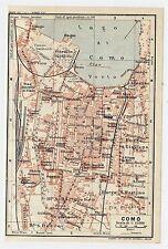 1927 ORIGINAL VINTAGE CITY MAP OF COMO / LAKE COMO / LOMBARDY / ITALY