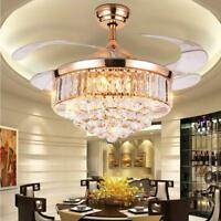 42inch Remote Invisible Ceiling Fan LED Crystal Chandeliers Pendant Ceiling Lamp