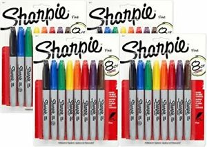Sharpie 30217PP Fine Point Permanent, 8 Markers, Pack of 4, Assorted Colors