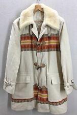 Vtg Wool Native Tribal Chimayo Print Toggle Button Shearling Collar Coat Jacket