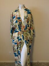 Vintage Japanese Kimono Multicolor Floral Countryside One Size