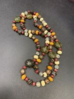 "Vintage Bohemian 36""  Glass beaded Earthly Bohemian Long Sweater necklace"