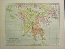 1904 MAP OF ANCIENT HISTORY ~ PELOPONNESUS ~ ARCADIA ARGOLIS MESSENIA ELIS