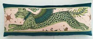 Emma J Shipley LYNX PINK cushion **FREE HOLLOW FIBRE PAD** 77cm x 29cm