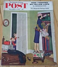SATURDAY EVENING POST DECEMBER 7 1957 TRAPPED COPS WASHINGTON OFFICER TV RATINGS
