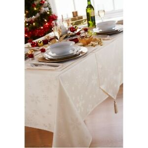 Blizzard Cream Table Cloths Snow Flakes Dinner Party Festive Christmas Occasions