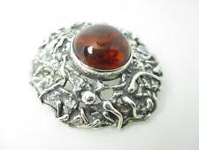 Designer Silber Brosche Bernstein signiert Modernist Vintage silver amber brooch