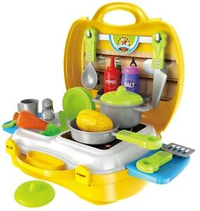 Kids Pretend Role Play Kitchen Pizza Utensil Food Toy Set Child Gift Suitcase