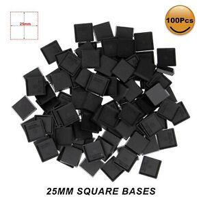 100pcs 25mm Square Model Bases for Wargames Table Games Plastic Black
