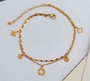 "Women Titanium Stainless Steel 4 Leaf Clover Double Chain Anklet Bracelet 8-10"""