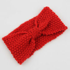 Red Women Bow Knot Knitted Headband Wide Turban Hair Band Crochet Head Wrap