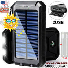 Solar Power Bank 5000000mAh 2USB&2LED Backup Battery Fast Charger For Phone USA