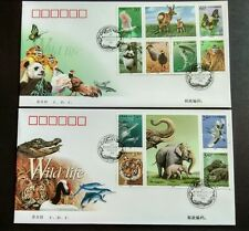 2000-3 China Wildlife Animals Panda Monkey Crane Dolphin Tiger Stamps FDC
