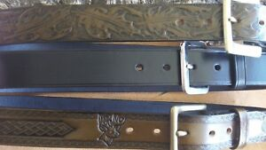 Hand crafted, vegetable tanned leather belt made to order, choose your design
