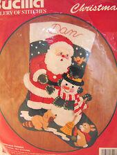 "Snowman Santa And Friends Christmas 15"" Felt Stocking Kit 32967 1992 Bucilla"