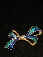 Vintage Estate Gold Tone Blue Green Metallic Enamel Pin Bow Brooch
