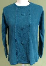 JENNY Vintage Women's Blue Sweater Size Medium Embroidered Beaded Long Sleeve