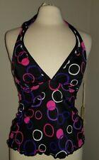 Jamaica Bay black halter swim top w/swirl pattern nwt sz 10