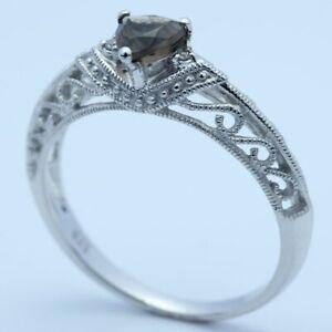 Solid 10k White Gold 0.32CT Smokey Quartz Topaz Real Diamonds Gemstone Gift Ring