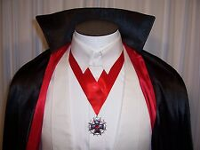 COUNT DRACULA Silver & Black Maltese Cross Medallion Vampire Red Neck Tie Emblem