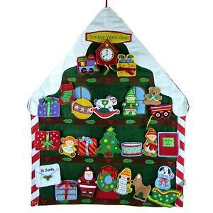 "Hallmark SANTA'S WORKSHOP COUNTDOWN CALENDAR 24"" Fabric House 25Pc Ornament Set"
