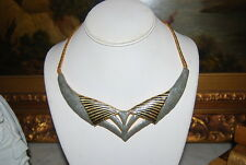 VINTAGE BLACK AND GREY ENAMEL ON GOLD TONED METAL CHAIN CHOKER CASUAL NECKLACE