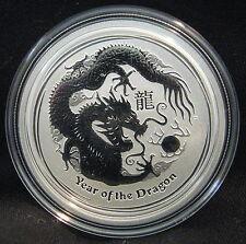 2012 Australia Lunar Series II Year Of The Dragon 1/2 oz Silver Capsuled BU Coin