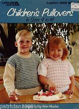 Leisure Arts 628 Children Pullovers Knitting Patterns Houndstooth Size 4-14 1988