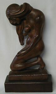 Frank Reale Wood Carved Sculpture Signed Nude Female Figure Brooklyn New York