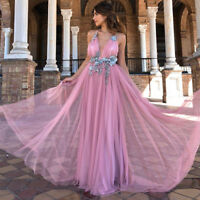 Women's Lace Long Wedding Evening Ball Dress Gown Party Prom Bridesmaid Dress