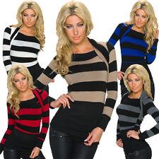 Gestreifte Damen-Pullover & -Strickware aus Acryl ohne Verschluss