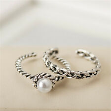 2Pcs/Set Vintage Silver Boho Pearl Midi Finger Finger Knuckle Rings Band Jewelry