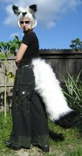WHITE Black ARCTIC FOX or WOLF EARS LARGE TAIL COSTUME partial fursuit cosplay