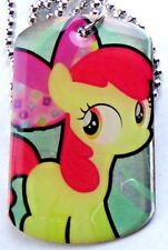 NEW! My Little Pony! Dog Tag Necklace Apple Bloom #14 Super RARE Hasbro Chain