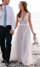 Sexy White/Ivory Lace/Tulle Beach Wedding Dresses A Line Bridal Gowns Custom