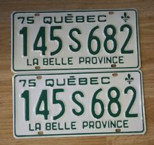 Matched Pair Licence Plate Canada Quebec 1975 , excellent condition