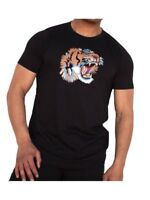 King Kouture Mens Tiger Patch Cotton Jersey T-Shirt in Black