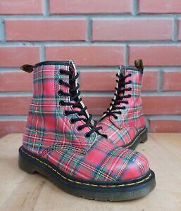 Dr Martens 1460 Women 3 UK 5 US 36 EU Ankle Boots 8 eye Tartan Red Plaid