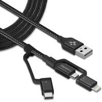 Spigen USB-C + Micro-B 5-pin + USB Lightning to USB 2.0 Cable [C10i3] 3 in 1