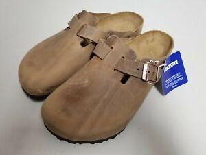 Birkenstock Boston Oiled Leather Clog Slides Size 40 Medium Width Tobacco Brown