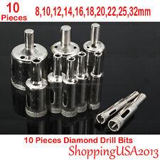 10 pcs 8-32mm Diamond tool drill bit set hole saw cutter glass ceramic marb