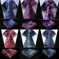 Paisley Floral Mens Blue Ties Silk Party Wedding Necktie Handkerchief Set RF4