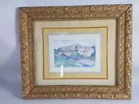 Ancien Cadre bois & stuc doré/, 34x29 cm, feuillure: 27,5x24cm Aquarelle offerte