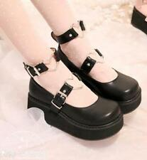 Womens Strap Creeper Mary Jane Platform Lolita Wedge Heels Girls Shoes Cute New