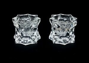 """Pair of 2 Crystal Star Shaped Single Light Candle Holders 3"""" C1544"""