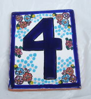 """1 x No. """"4"""" Ceramic Tile with Floral Background"""