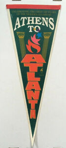 Atlanta Olympics Circa 1996 Celebrating 100 Years Of The Modern Olympiad Pennant