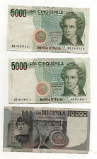 Italy pre-Euro holiday change 5000 5000 10000 banknotes