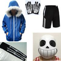 Undertale Sans Cosplay Costume Hoodie Hooded Coat Sweater Jacket Halloween Mask