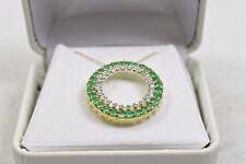 "10k Yellow Gold Chain Necklace 18"" Emerald / White Sapphire Pendant BB14-A"